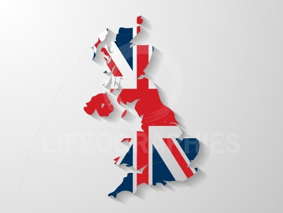 United Kingdom map with shadow effect