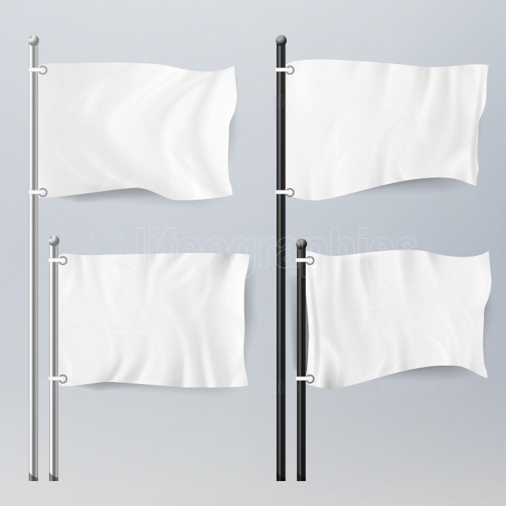 Various Clean Empty White Flags And Banners Pictograms Mockup  White Flags