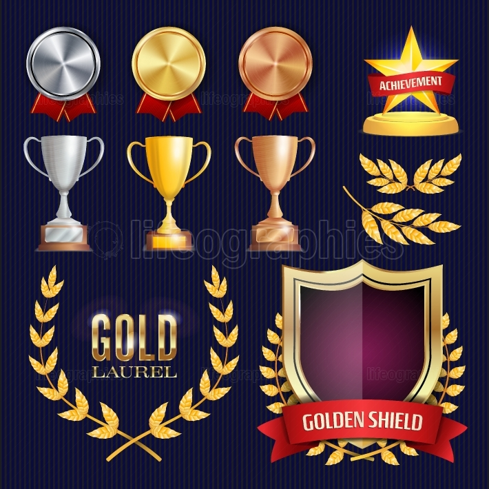 Vector Awards And Trophies Collection  Golden Badges And Labels  Championship Design  1st, 2nd, 3rd Place  Golden, Silver, Bronze Achievement  Empty Badge, Medal Blank