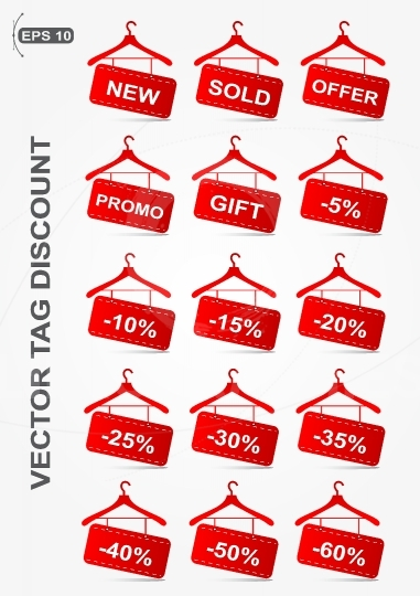 Vector icons tag discount