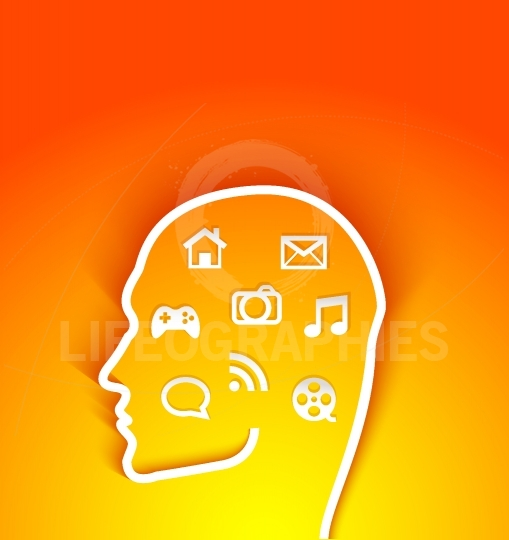Vector illustration of  human head with multimedia icons