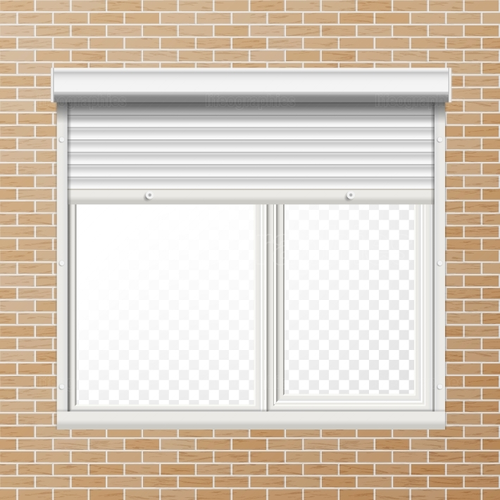 Vector Rolling Shutters  Brick Wall  White Metallic Roller Shutter Illustration