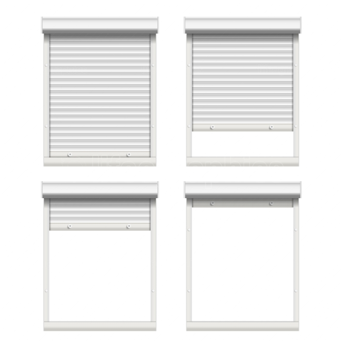 Vector Rolling Shutters  White Metallic Roller Shutter Isolated On White Background Illustration