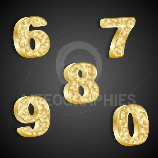 Vector set of golden numbers 6 to 0