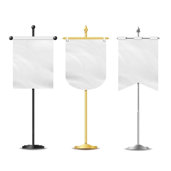 Vector Small Table Flag Set  White Blank  Different Shapes