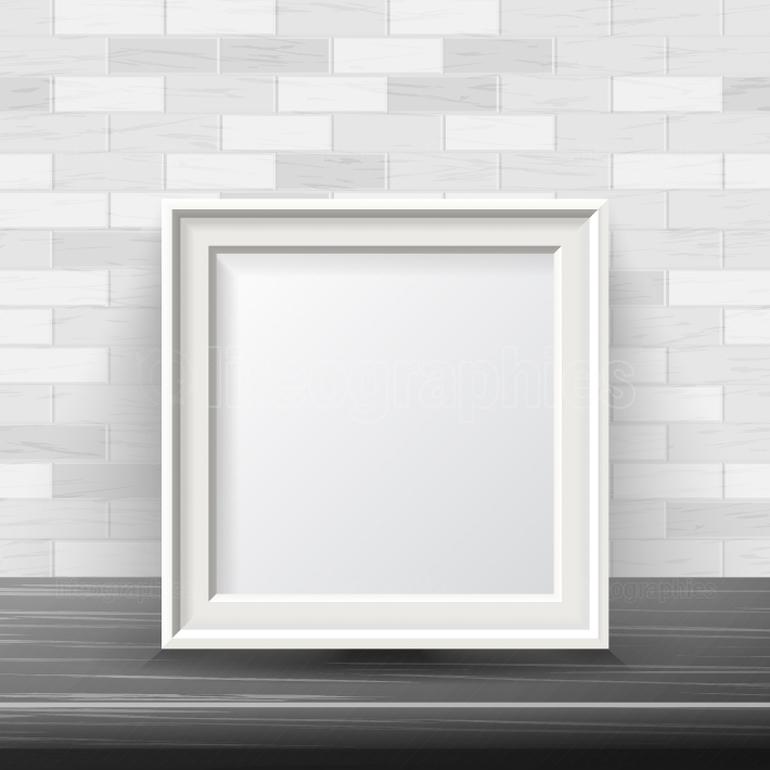 Vertical Square Frame Mock Up Vector  Good For Your Exhibition Design  Realistic Shadows  White Brick Wall Background  Front View Illustration
