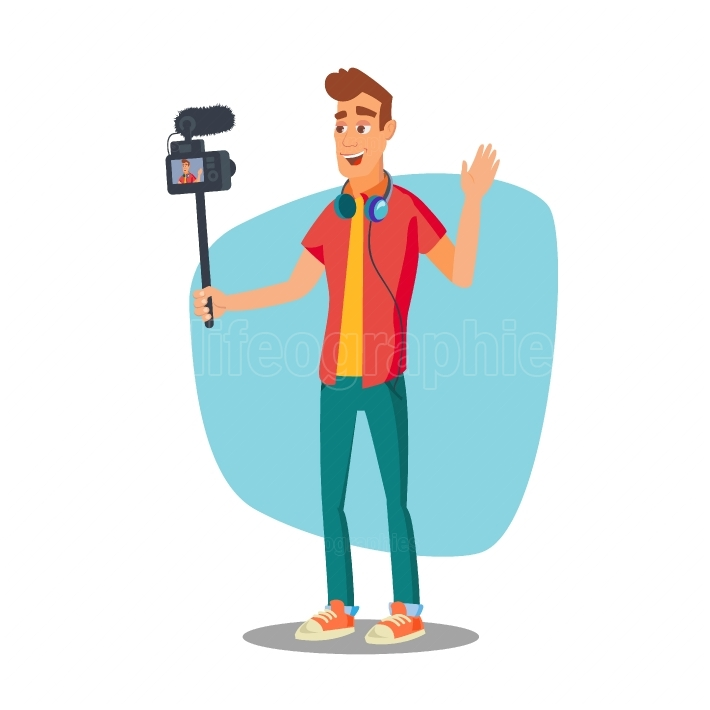Video Blogger Vector  Lifestyle Video Clip Shooting Process  Shooting Video Process  Isolated Flat Cartoon Character Illustration