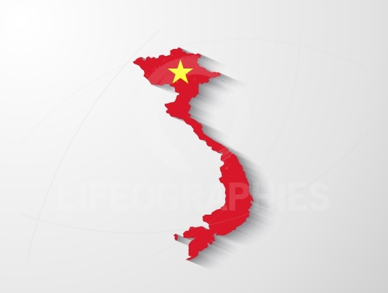 Vietnam  map with shadow effect
