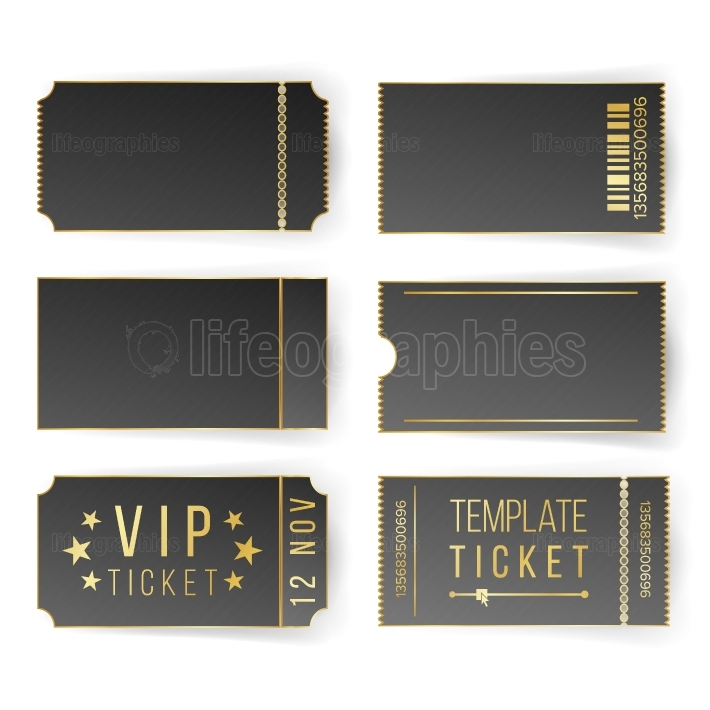 Vip Ticket Template Vector  Empty Black Tickets And Coupons Blank  Theater, Cinema Tickets Coupons  Isolated Illustration