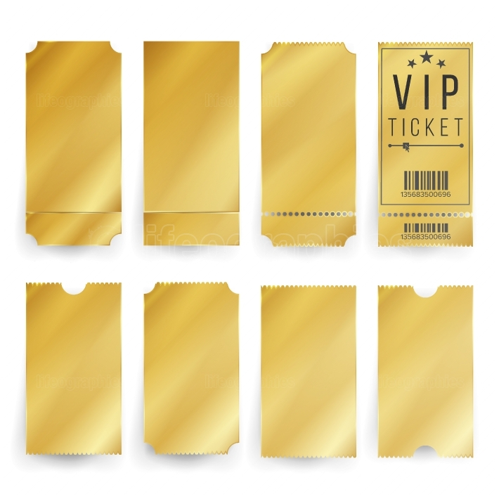 Vip Ticket Template Vector  Empty Golden Tickets And Coupons Blank  Isolated Illustration