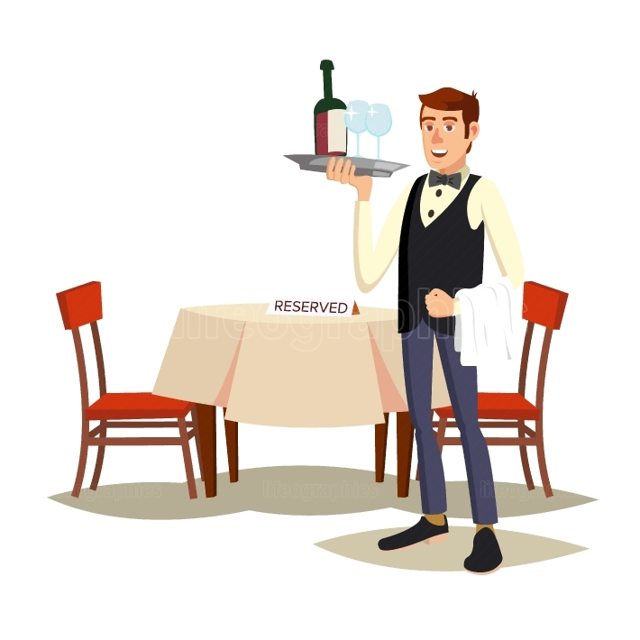 Waiter In Cafe Vector  Professional Waiter  Dinner Date  Food, Drink Concept  Isolated On White Cartoon Character Illustration