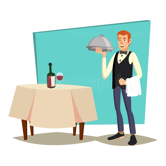 Waiter Serving Vector  Modern Waiter Reserved Table In Cafe, Restaurant  Flat Cartoon Illustration