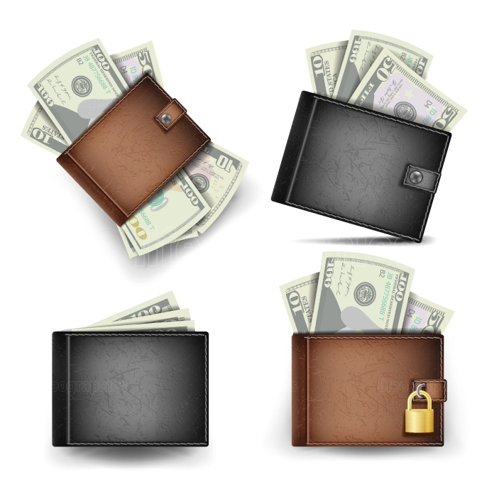 Wallet Set Vector  Dollar Banknotes