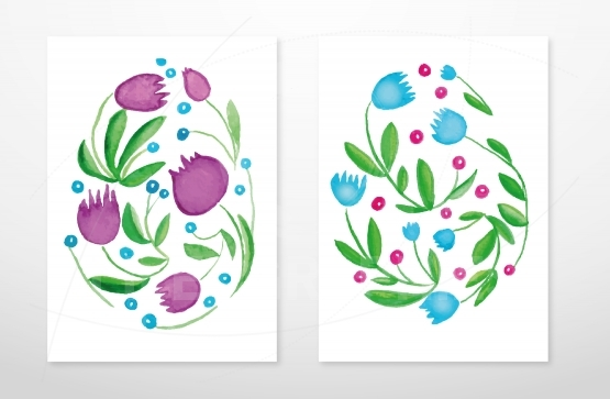 Watercolor Floral Easter eggs