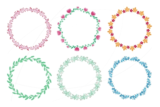 Watercolor round floral frames