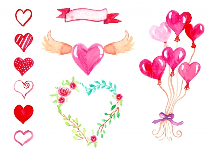 Watercolor Valentines Day hand drawn elements.