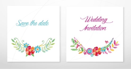 Wedding invitation cards with watercolor blooming flowers.