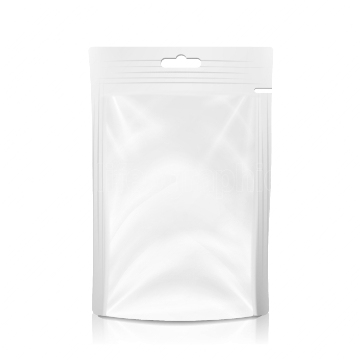 White Blank Plastic Pocket Bag Vector  Realistic Mock Up Template Of Plastic Foil Food Or Drink Doypack Bag  Clean Hang Slot  Packing Design Template  Isolated Illustration
