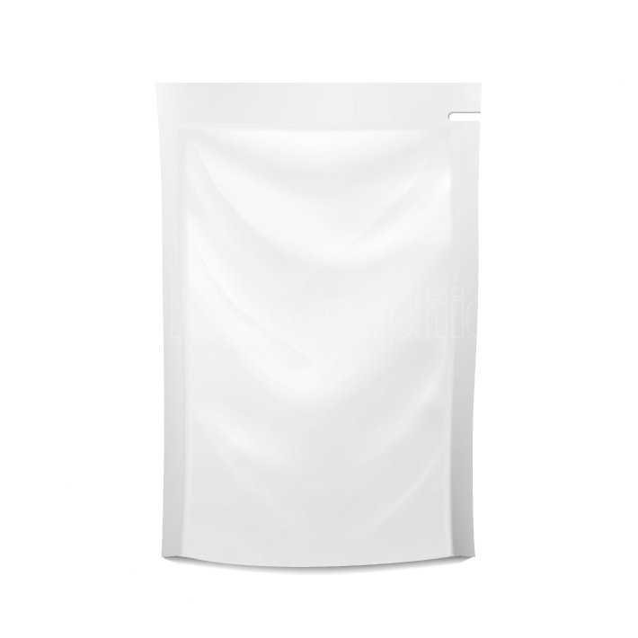 White Blank Plastic Spouted Pouch  Vector Doypack Food Bag Packaging  Template For Puree, Beverage, Cosmetics  Packaging Design  Vector Isolated Illustration