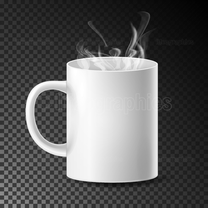 White Cup, Mug Vector  Realistic Ceramic Or Plastic Cup Isolated On Transparent Background  Empty Classic Cafe Cup With Handle And Steam Illustration  Good For Business Branding, Corporate Identity