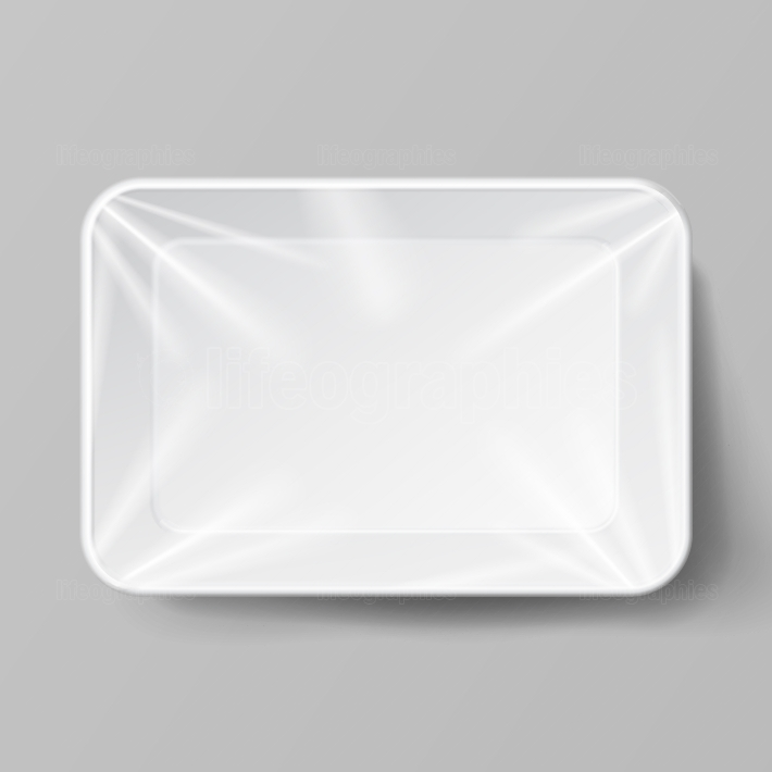 White Empty Blank Styrofoam Plastic Food Tray