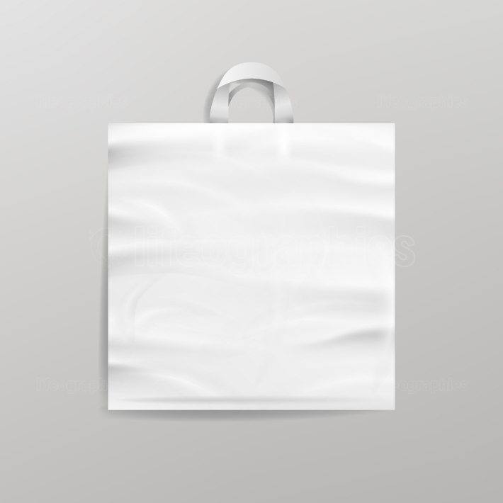 White Empty Reusable Plastic Shopping Bag With Handles  Close Up Mock Up  Vector Illustration