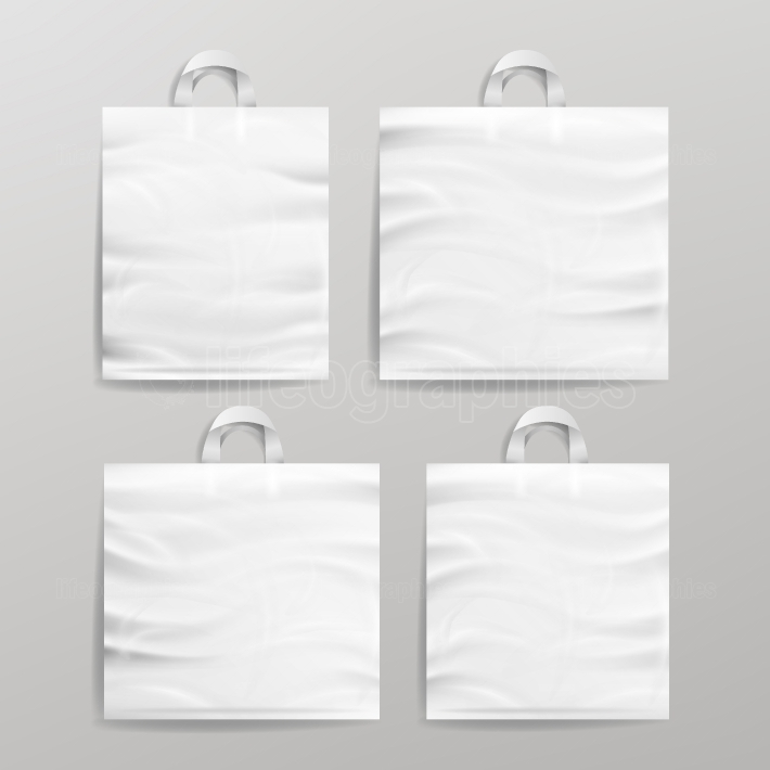 White Empty Reusable Plastic Shopping Realistic Bags Set With Handles  Close Up Mock Up  Vector Illustration