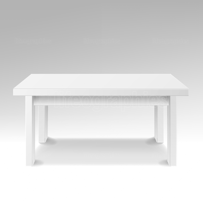 White Empty Square Table  Isolated Furniture, Platform  Realistic Vector Illustration