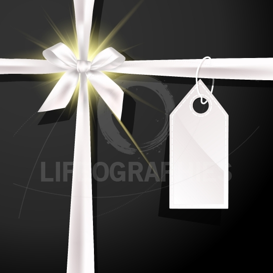 White gift bow with label on black background