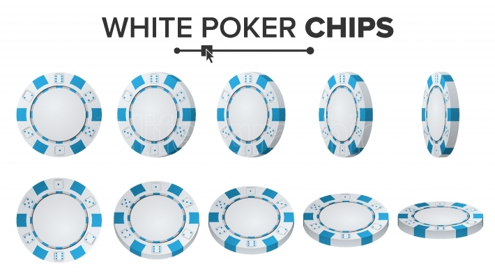 White Poker Chips Vector  3D Set  Plastic Round Poker Chips Sign Isolated On White  Flip Different Angles  Jackpot Concept Illustration