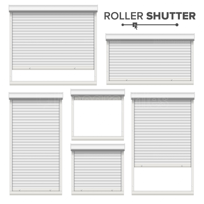 White Roller Shutters Vector  Window, Door, Garage, Storage Roller Shutters  Opened And Closed  Front View  Isolated