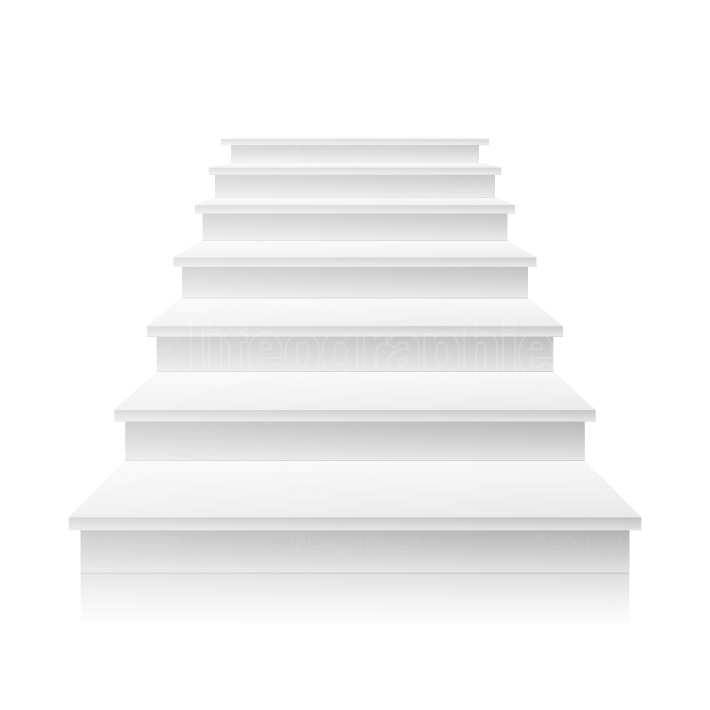 White Staircase Vector  3D Realistic Illustration
