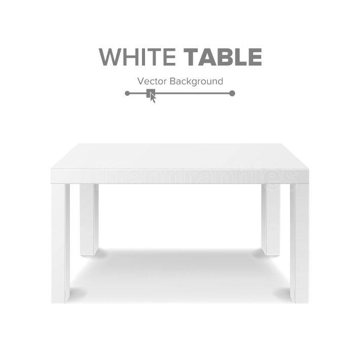 White Table Vector  3D Stand Template For Object Presentation  Realistic Vector Illustration