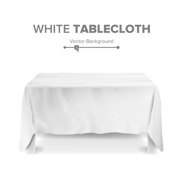 White Table With Tablecloth Vector  Empty 3D Rectangular Table Isolated  Illustration