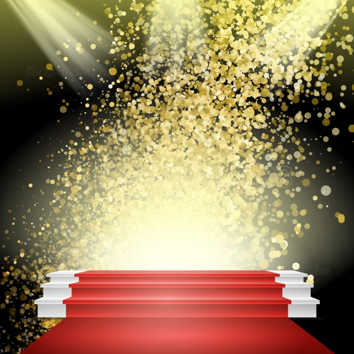 White Winners Podium Vector  Red Carpet  Gold Glitter Cloud Or Shining Particles Explosion  Stage For Awards Ceremony  Illustration