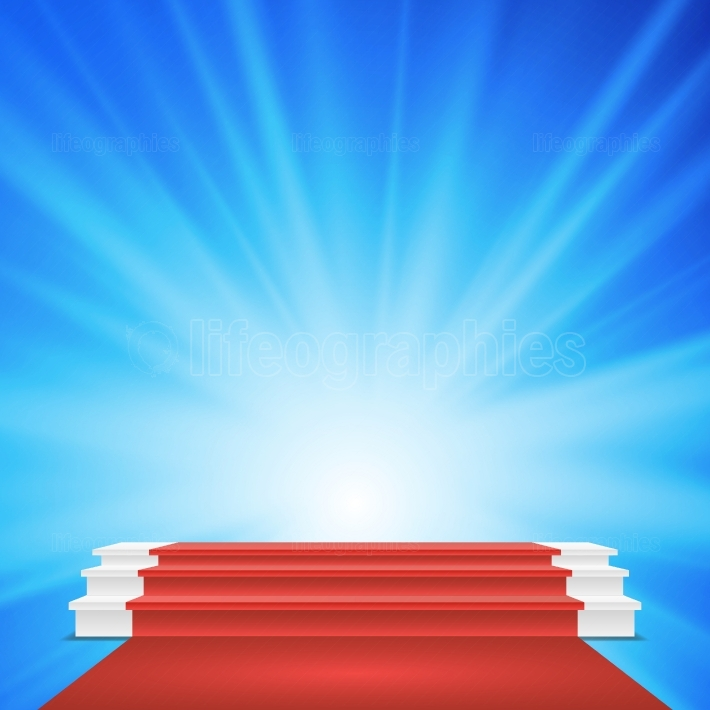 White Winners Podium Vector  Red Carpet  Stage For Awards Ceremony  Illustration