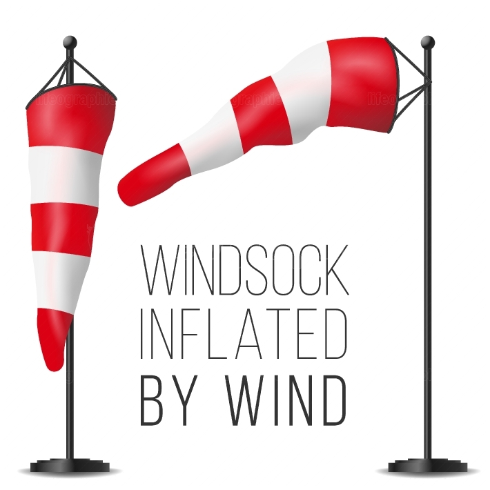 Wind Speed Flag Vector  Inflated By Wind On A Pole  3D Weather Windsock Isolated Illustration