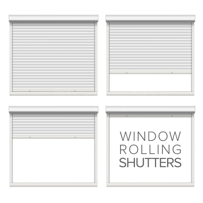 Window Roller Shutters Vector  Opened And Closed  Realistic Window, Door, Garage Rolling Shutters Isolated On White Illustration