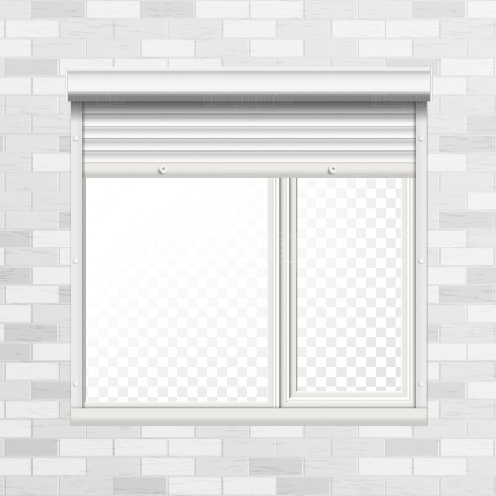 Window With Rolling Shutters Vector  Brick Wall  Front View  Illustration