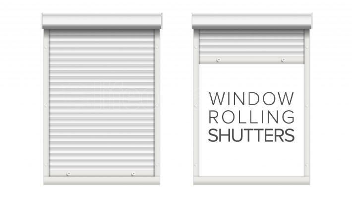 Window With Rolling Shutters Vector  Opened And Closed  Front View  Isolated On White Illustration