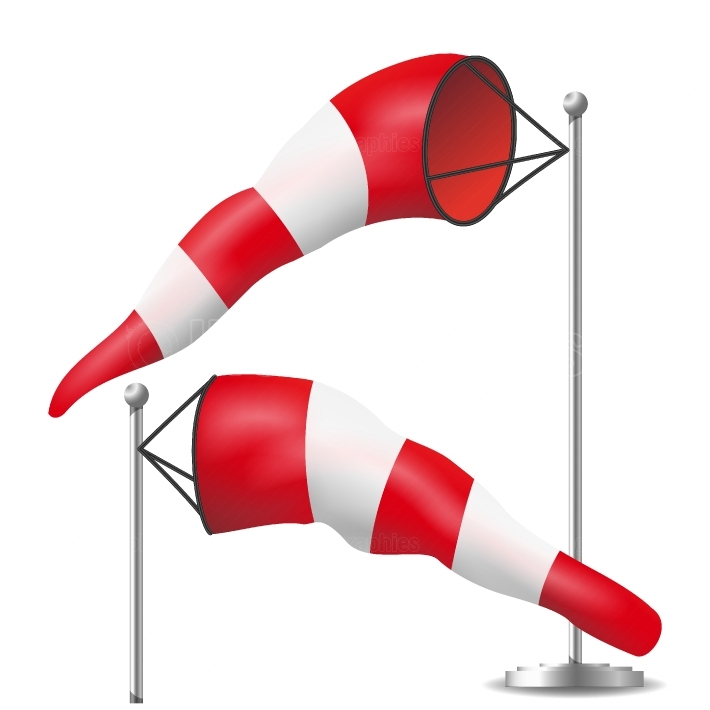 Windsock Vector  Realistic Meteorology Windsock Inflated By Wind  Red And White