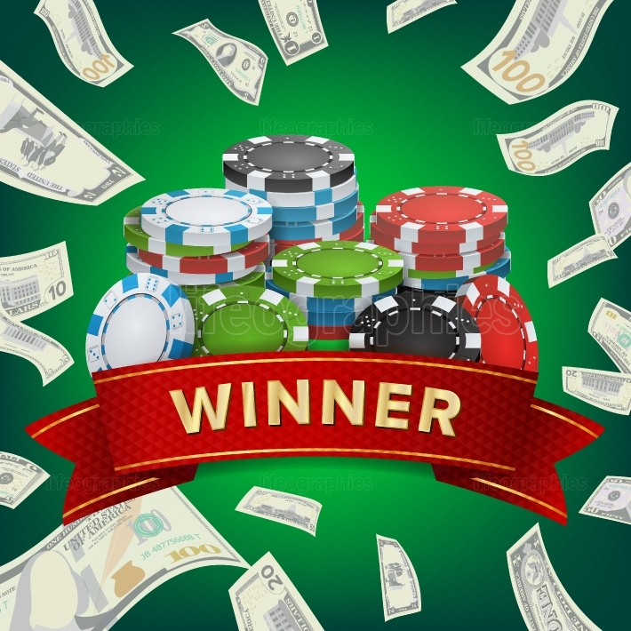 Winner Background Vector  Gambling Poker Chips Lucky Jackpot Illustration  For Online Casino, Playing Cards, Slots, Roulette  Money Stacks  Nightclub Billboard Concept