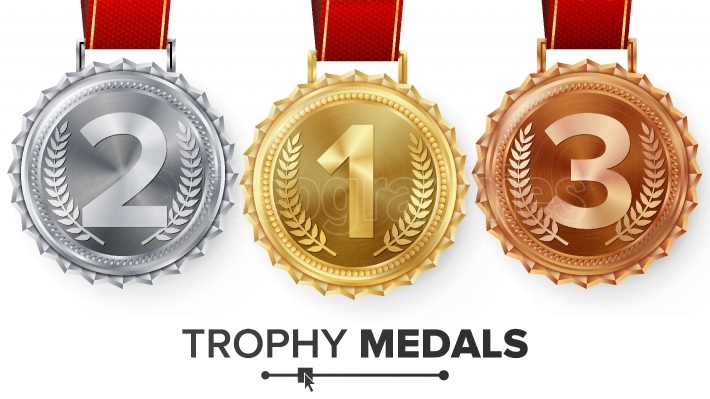 Winner Gold, Silver, Bronze Medals Set Vector  Metal Realistic Badge With First, Second, Third Placement Achievement  Round Label With Red Ribbon  Competition Golden, Silver, Bronze Trophy