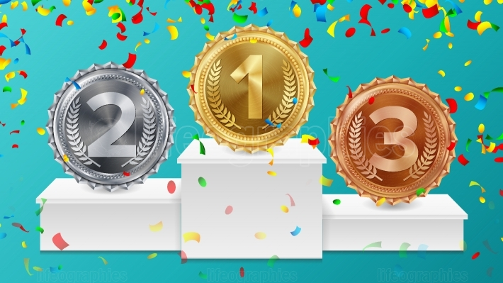 Winner Pedestal With Gold, Silver, Bronze Medals Vector  White Winners Podium  Number One  Red Ribbon, Olive Branch, Confetti  Competition Trophy  Isolated Illustration