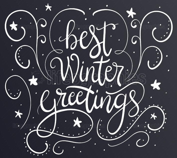 Winter greeting card with brush calligraphy