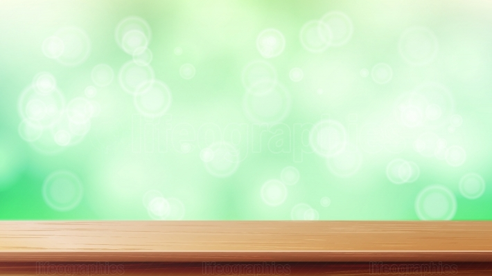 Wood Table Top Vector  Blur Spring Green