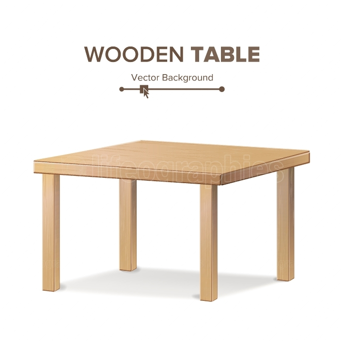 Wooden Empty Square Table  Isolated Furniture, Platform  Realistic Vector Illustration