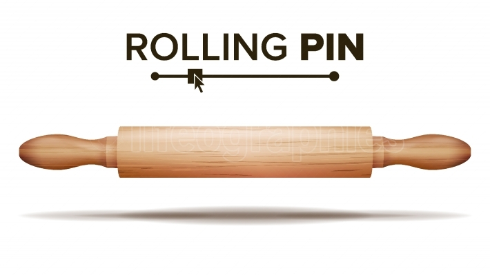 Wooden Rolling Pin Vector  Bakery Concept  Isolated Illustration