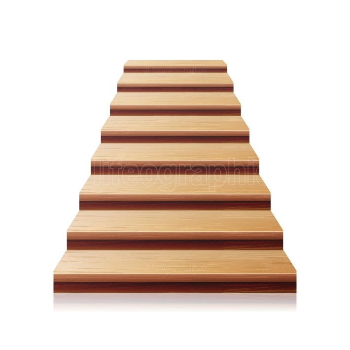 Wooden Staircase Vector  3D Realistic Illustration  Front View  Isolated On White