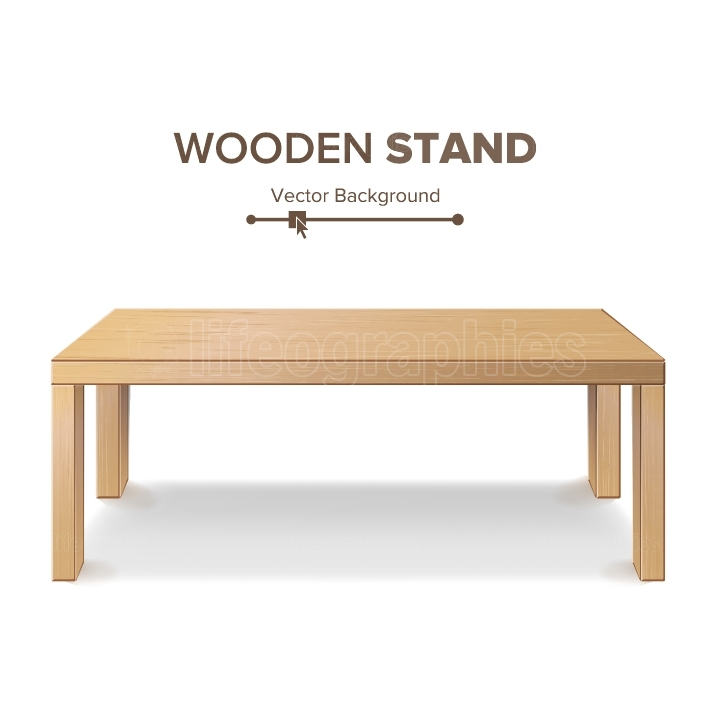 Wooden Stand, Table Vector  3D Stand Template For Object Presentation  Realistic Vector Illustration